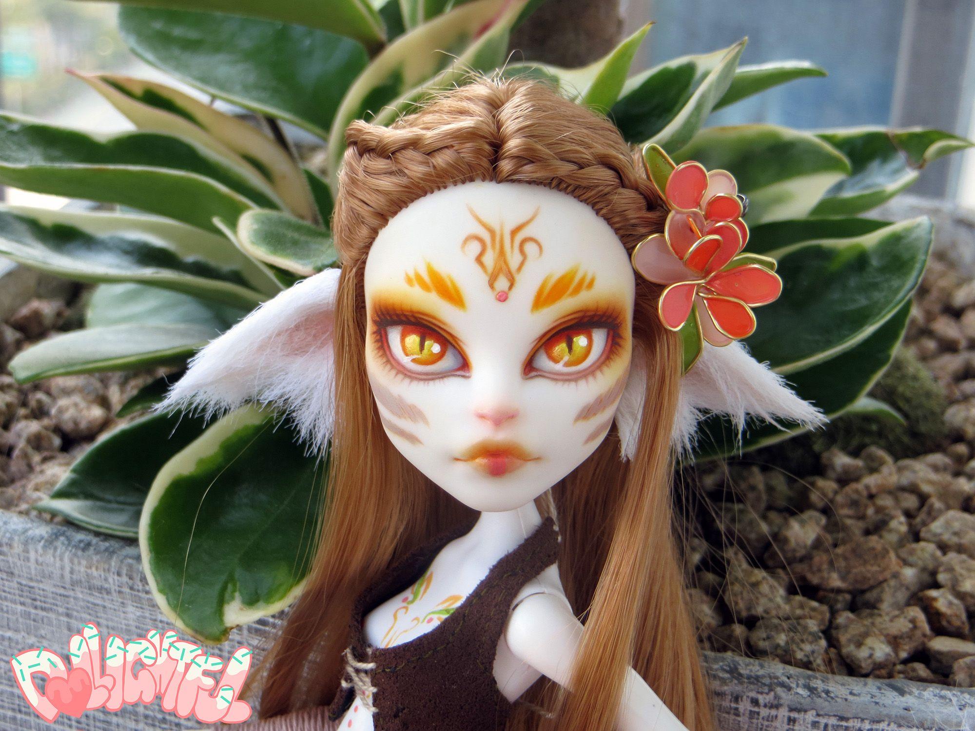 Custom Catrine DeMew Monster High Avatar Wild Cat Nature Spirit Kitsune Fox Repaint OOAK Doll by Dollightful