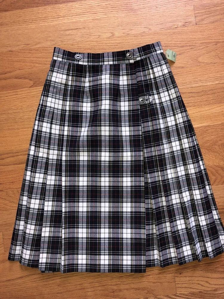 cad07b9701 Unbranded Girls School Uniform Navy White Red Yellow Plaid Pleated Skirt  Size 10 #Unbranded #Pleated