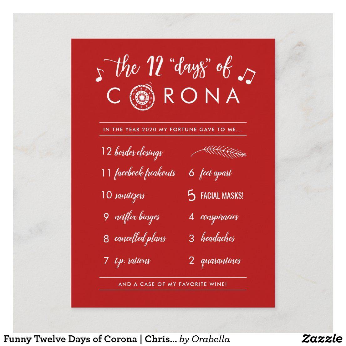 Funny Twelve Days of Corona Christmas Holiday Postcard