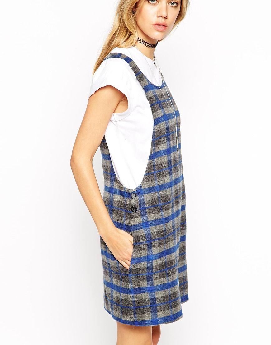 Vestido estilo pichi de cuadros de ASOS Reclaimed Vintage | Cosas ...