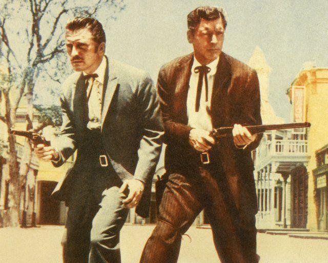 "Kirk Douglas as Doc Holliday & Burt Lancaster as Wyatt Earp in ""Gunfight at the O.K. Corral"" (1957)"