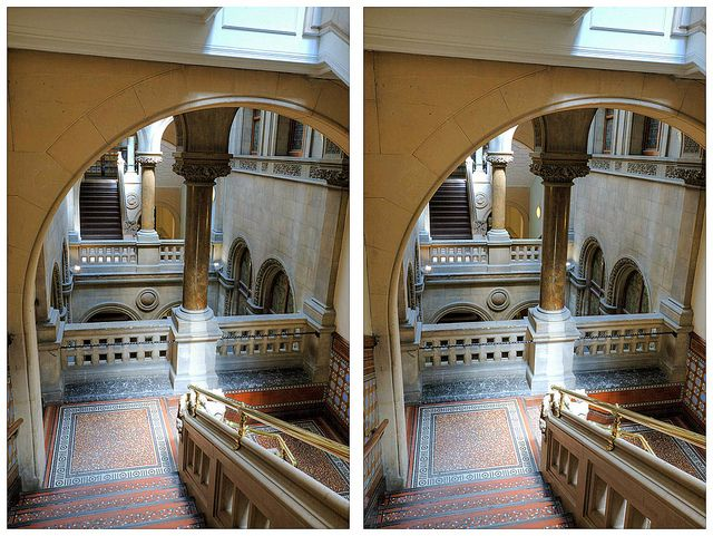 Crossview image of Leeds Library Stairs by Non Paratus, via Flickr. Cross your eyes until the two images form one 3D in the middle.