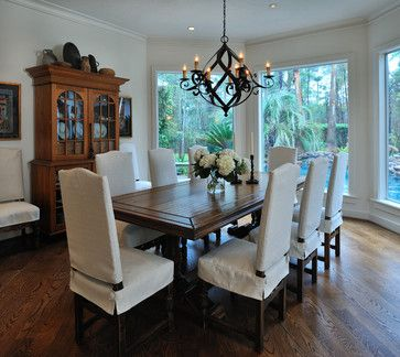 Houzz Dining Room Chair Covers Bungee Computer Were The Custom Made Have Mission Chairs With Rungs In Back Trying To Cover Ideas