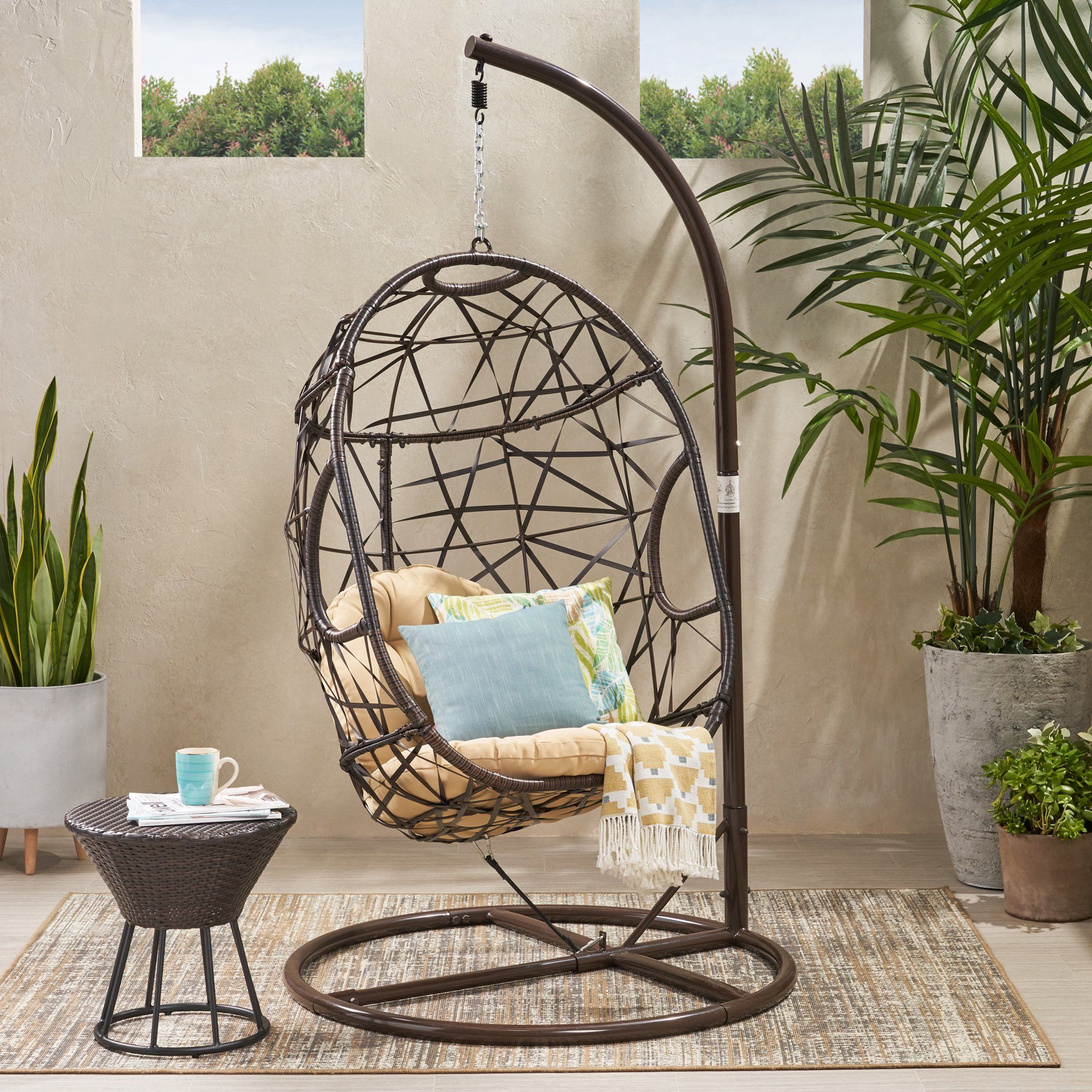 Westley Swinging Egg Outdoor Wicker Chair in