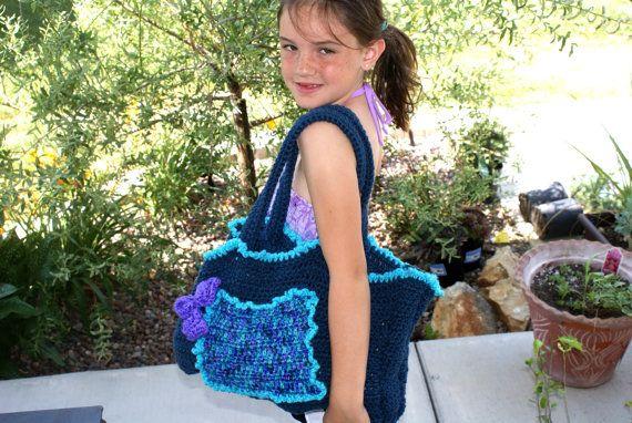Crochet Blue Tote Bag Crochet Market Bag Reusable by lanacooper,