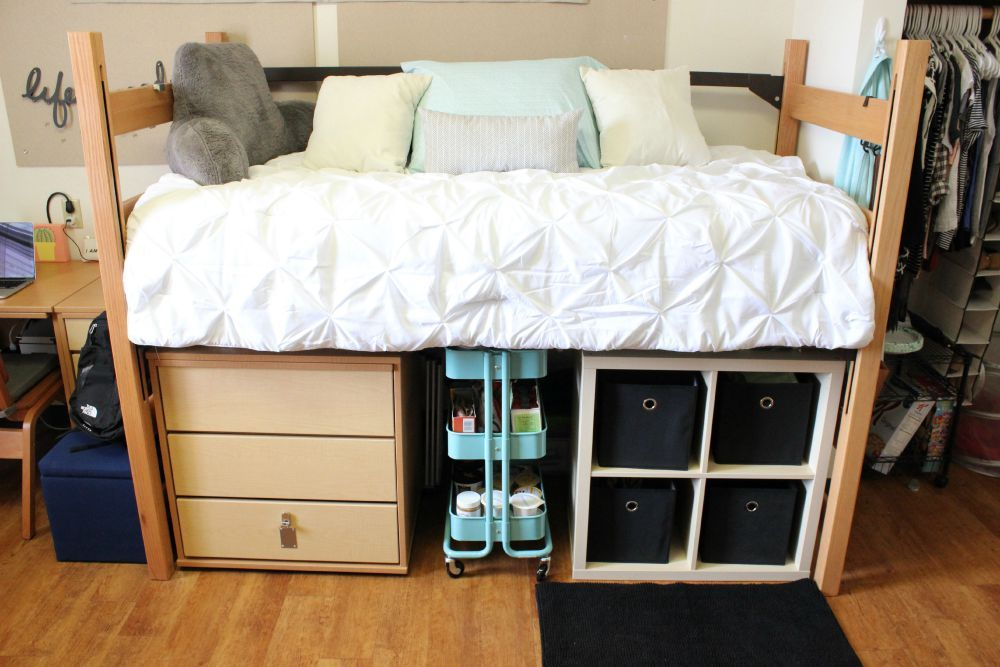 My college dorm room tour random info and tips cool - Dorm underbed storage ideas ...
