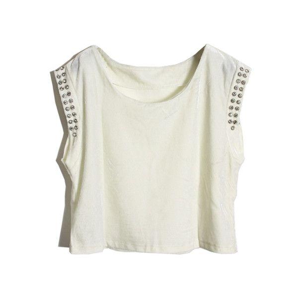 Crystals Sleevless White Velvet Vest