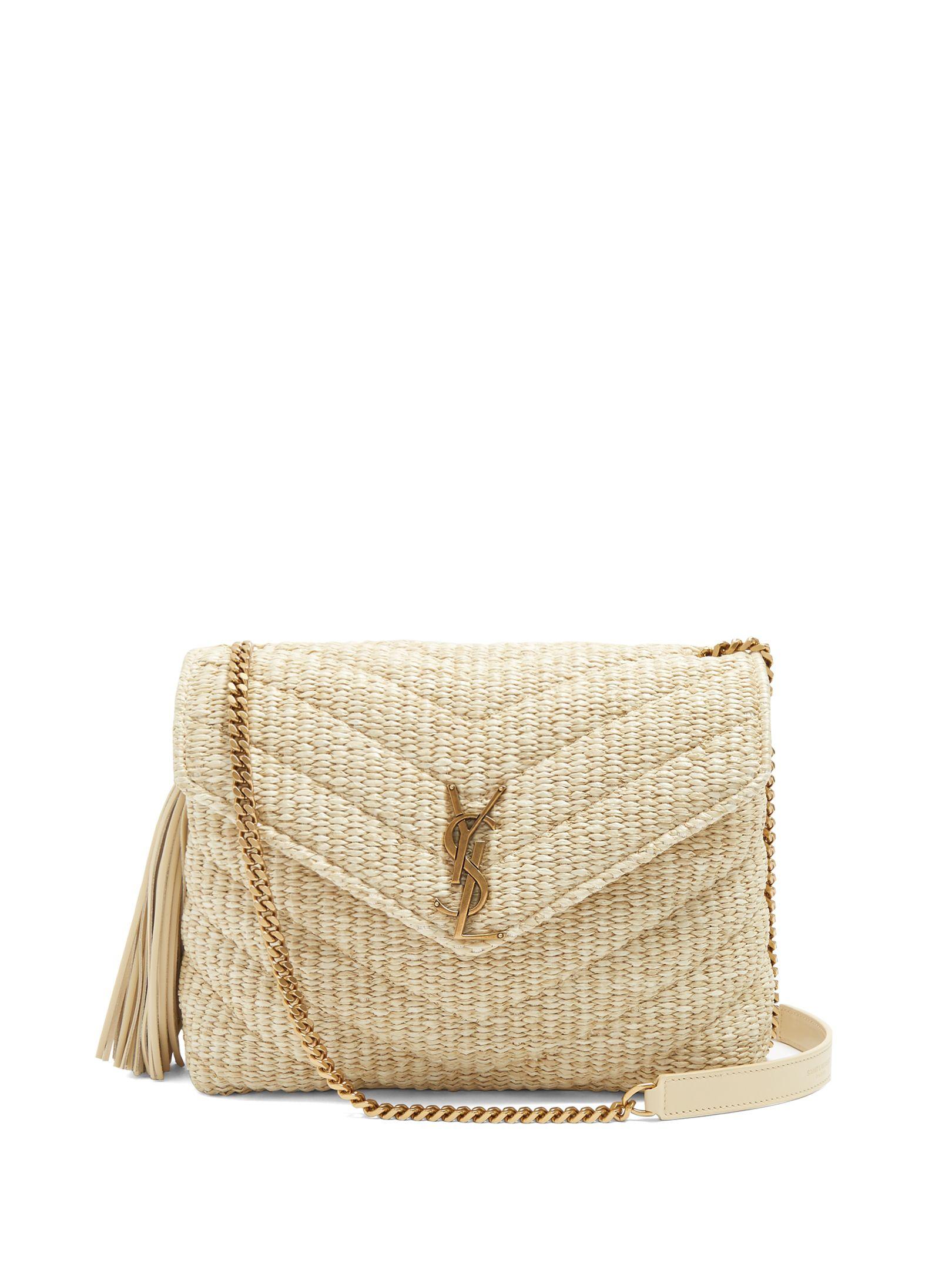 37b5aa4d27ca Saint Laurent - Monogram Small Soft raffia shoulder bag