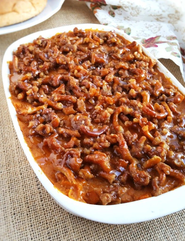 THE BEST SWEET POTATO CASSEROLE WITH A SALTED CARAMEL TOPPING AND