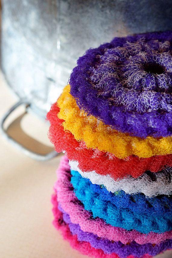 Nylon Pot Scrubber, Dish scrubber, Crocheted Scrubbie, Set of 8 ...