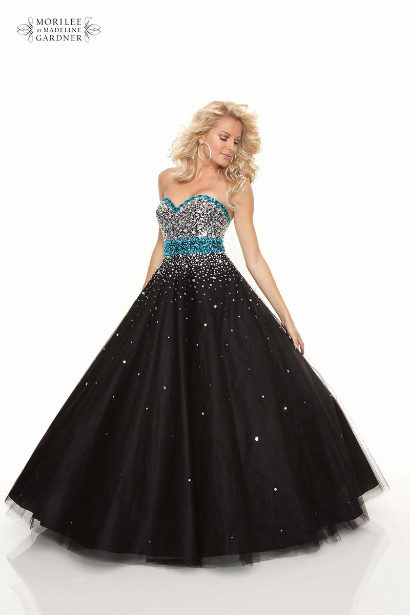 Black silver and turquoise for a stand out prom dress from mori lee