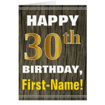 Bold Faux Wood Faux Gold 30th Birthday  Name Card - pattern sample design template diy cyo customize