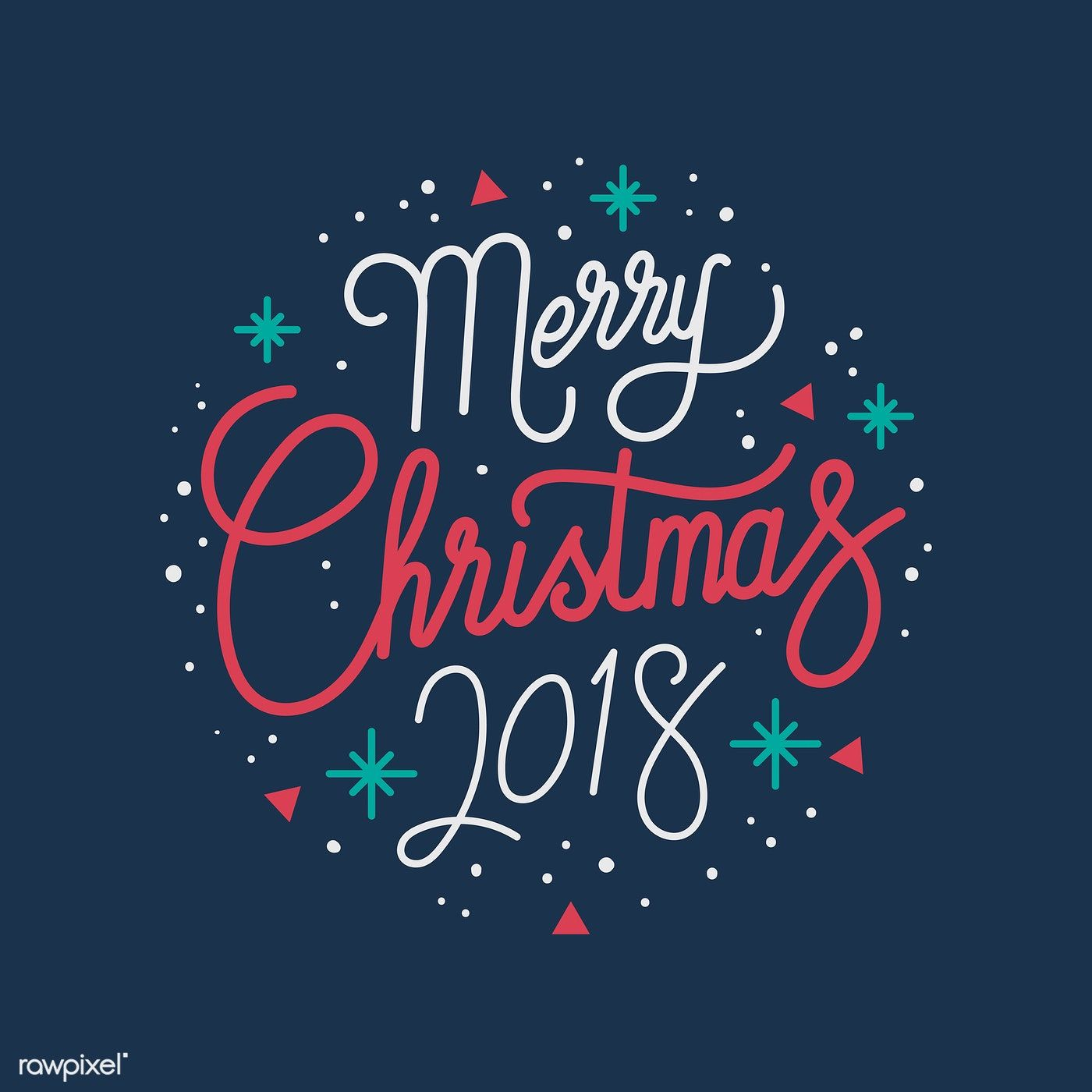 Merry Christmas 2018 greeting badge vector free image by