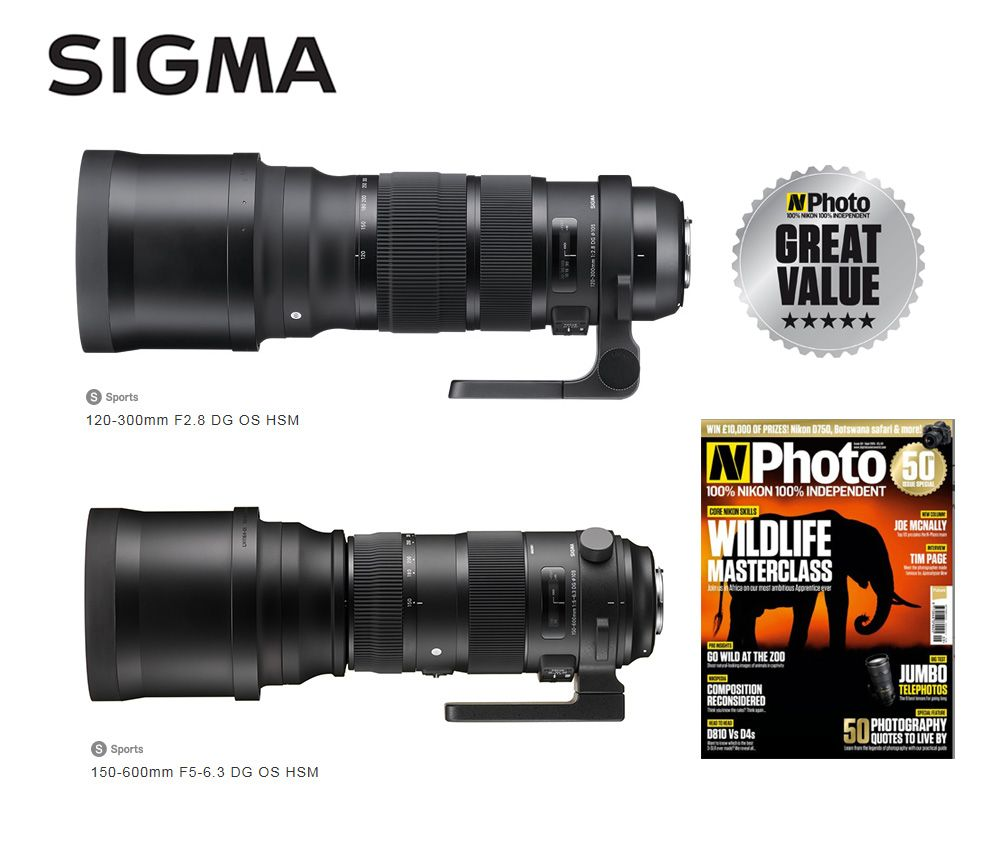The Sigma 120 300mm F2 8 Apo Dg Os Hsm Sports Lens And The Sigma 150 600mm F5 6 3 Apo Dg Os Hsm Sports Lens Both Receive The Photo Lens Sigma Lenses Sigma