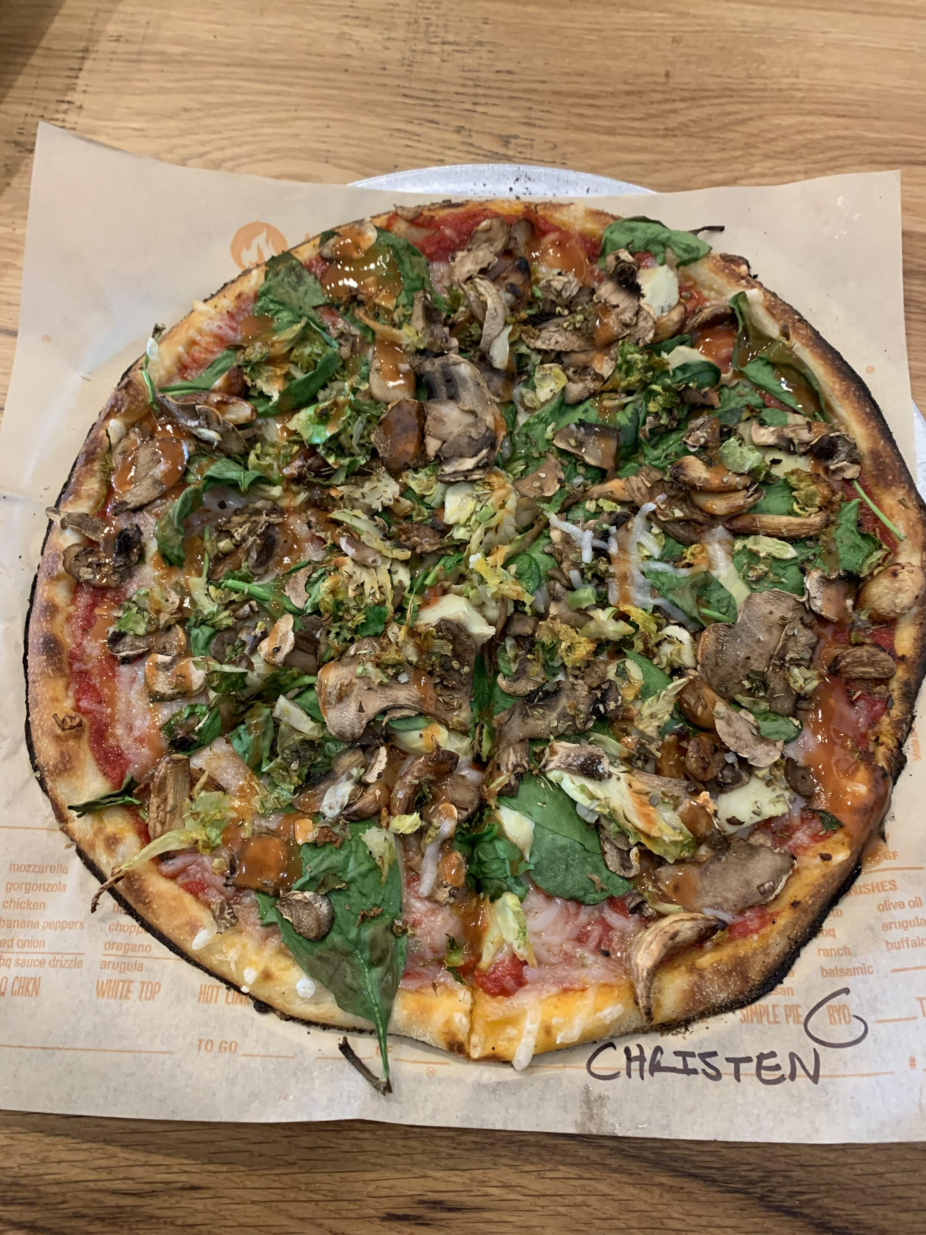 Build Your Own Pizza With Red Sauce Spinach Artichokes Roasted Garlic Mushrooms Vegan Cheese And A Buffalo Sauce Drizzle Blaze Pizza Rochester Ny