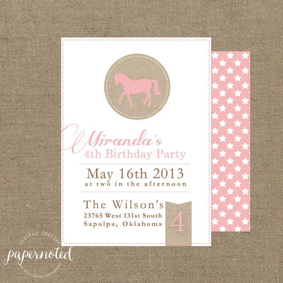 Girl Vintage Horse Birthday Invitation DIY By Papernoted