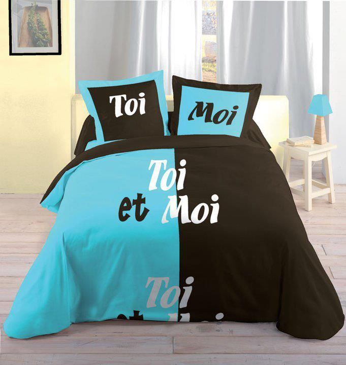 Literie Toi Et Moi Bleu Noir Adolescents Adultes Chambre