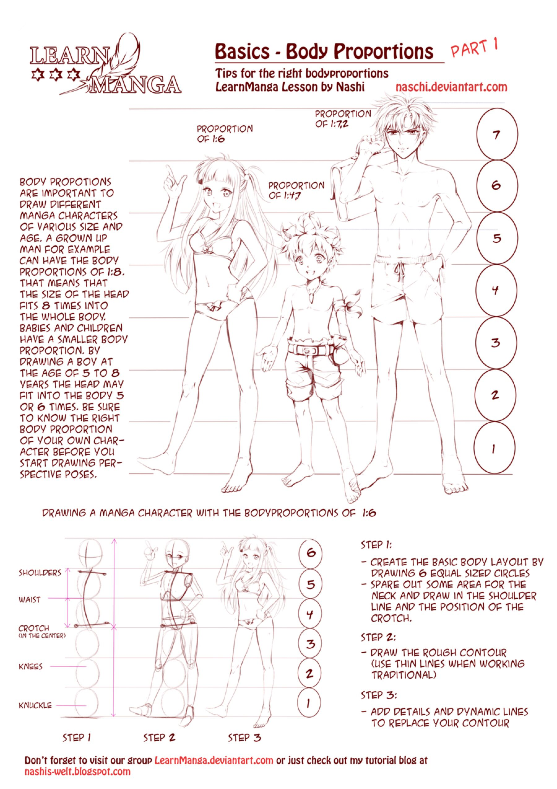 Learn Manga Body Proportions By Naschi On Deviantart Drawing Body Proportions Manga Drawing Tutorials Anime Drawings Tutorials