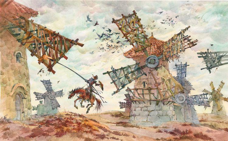 Картинки дон кихот сражается с мельницей
