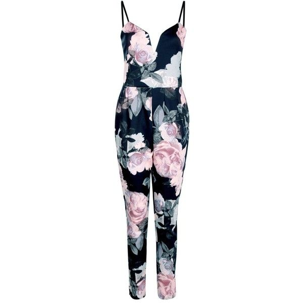 Kitty Floral Deep Plunge Jumpsuit ( 2.87) ❤ liked on Polyvore featuring  jumpsuits a14561f57