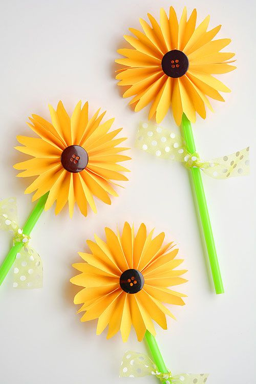 How to Make Folded Paper Sunflowers - One Little Project