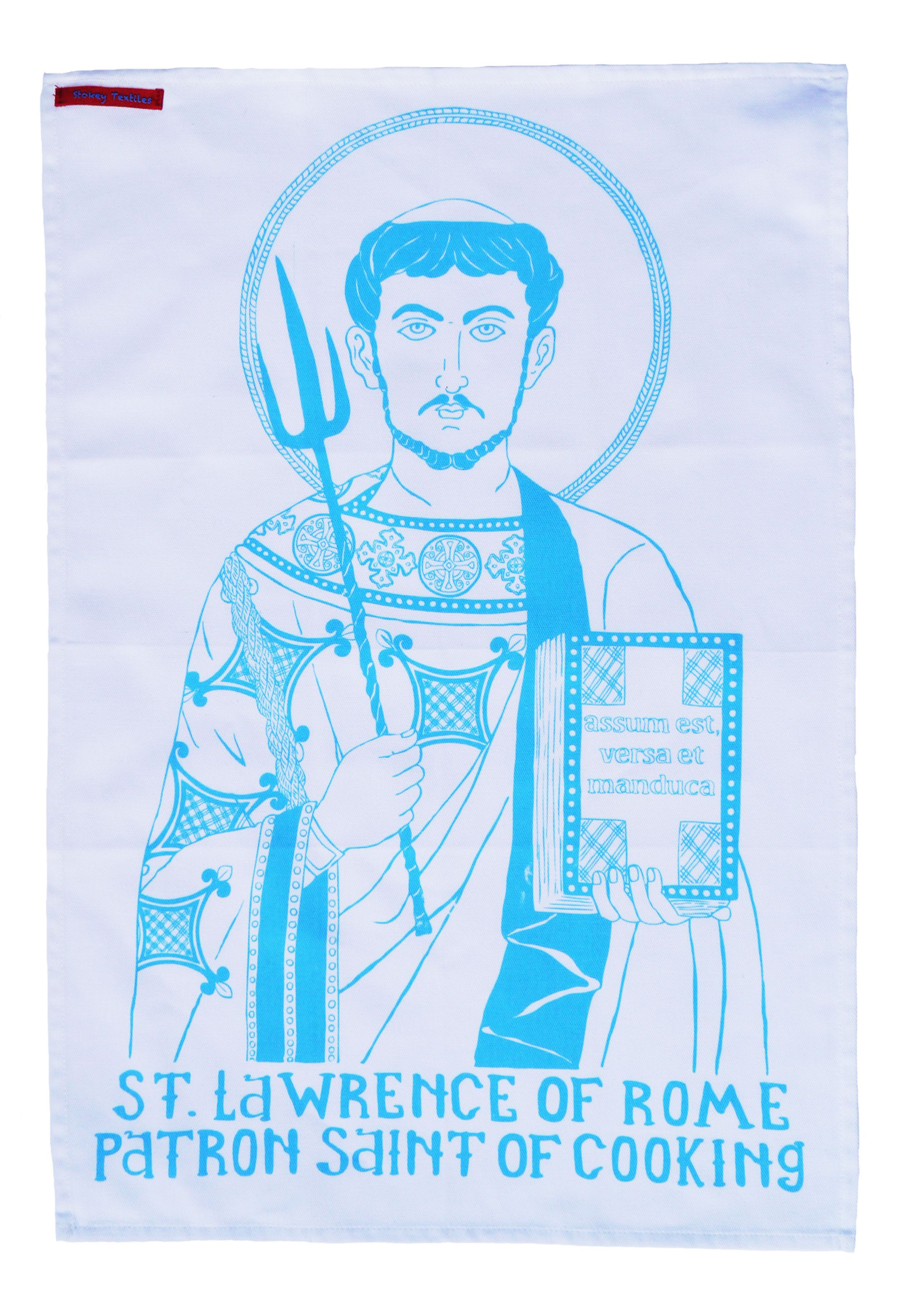 St Lawrence of Rome. Patron Saint of Cooking Hand Printed Cotton Tea ...
