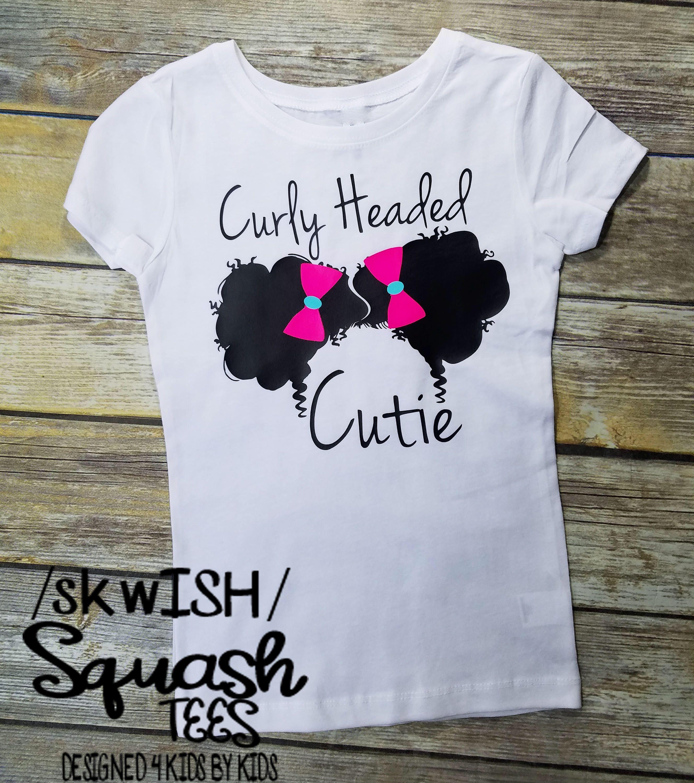 Natural Hair T-Shirt, Natural Hair Shirt, Afro Puffs T-Shirt, Curly Headed  Cutie Little Girls Shirt, Natural Hair Rocks, Curly Girl's Rock,