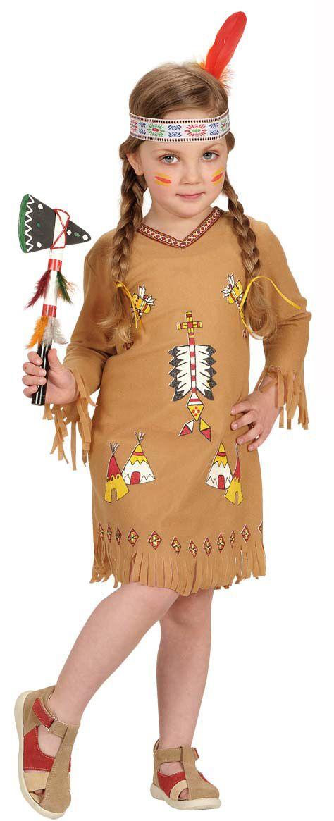 Deguisement Indienne Ocre A Motifs Fille India Americana - Disfraz-india-americana