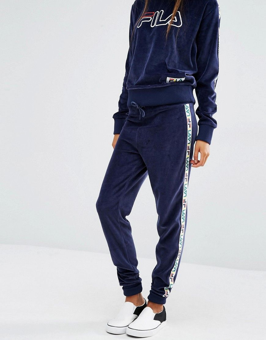 dc529ae874123 Fila Tracksuit Bottoms With Tape Detail In Velour | [70S & 80S ...