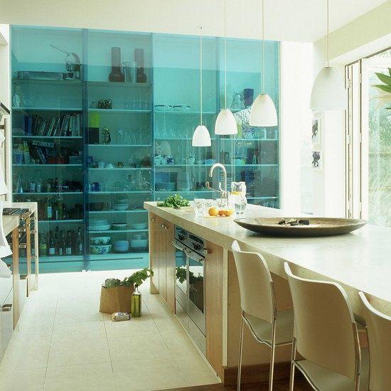 Sliding Glass Doors over kitchen shelves...cool