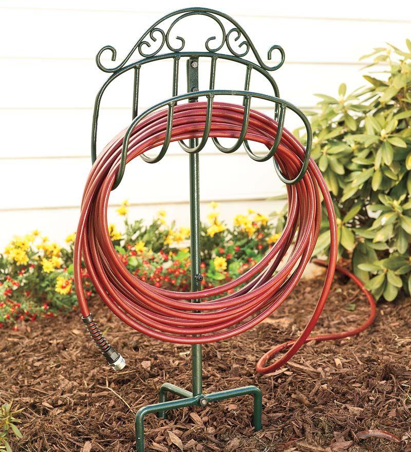 Wrought Iron Hose Holder With Ground Stake Hose Holder Garden
