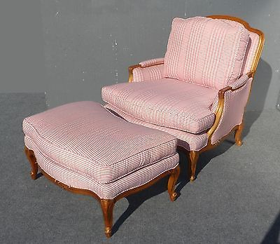 70ba20d17abe Vintage SAM MOORE Red Plaid ARM CHAIR   Ottoman Ornate Solid Wood FRENCH  COUNTRY