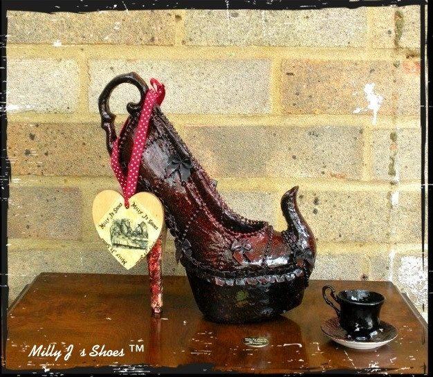 Milly J's Shoe Designs - Mad Hatter's Teapot. $251.00, via Etsy.