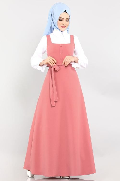 Modaselvim Elbise Dugme Detay Jile Ukb5022 Pudra Elbise Elbise Modelleri Moda Stilleri