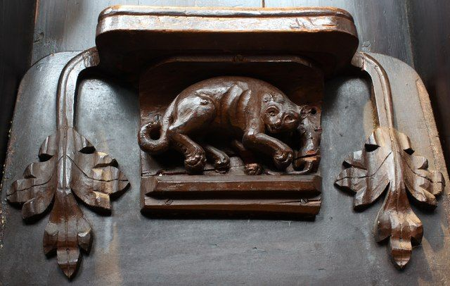 Cat & mouse misericord, Great Malvern Priory by Bob Embleton, via Geograph