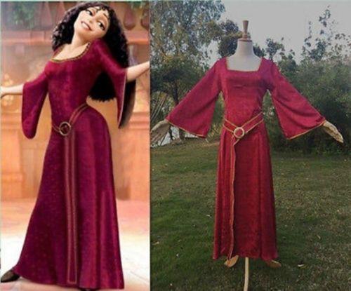 Rapunzel Mother Gothel Dress Cloak Tangled Princess Cosplay Costume Halloween