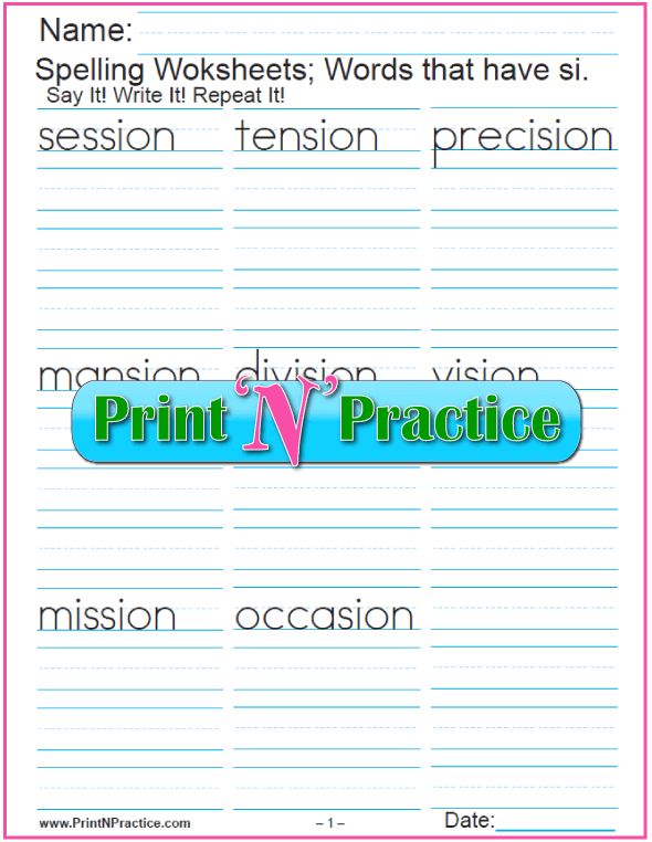 2 Phonics SION Words Worksheets | Worksheets, Phonics and Homeschool ...