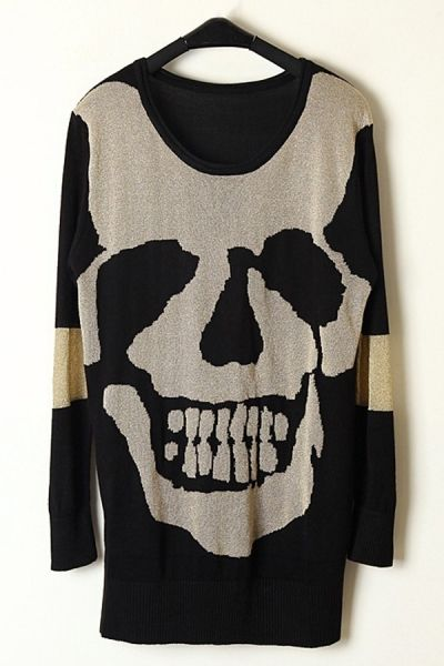 Long Skull Graphic Sweater OASAP.com