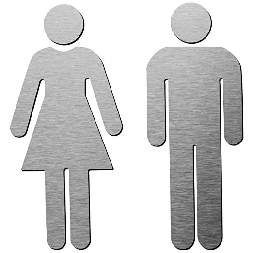 Amazon Com Brushed Aluminum Men S And Women S Bathroom Sign Decor Figure Set Men And Women Modern Restroom Sig Bathroom Signage Bathroom Signs Restroom Sign