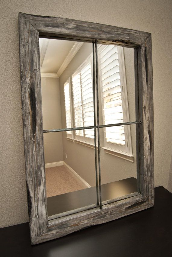 mirror rustic distressed faux window greywash by dining room wall