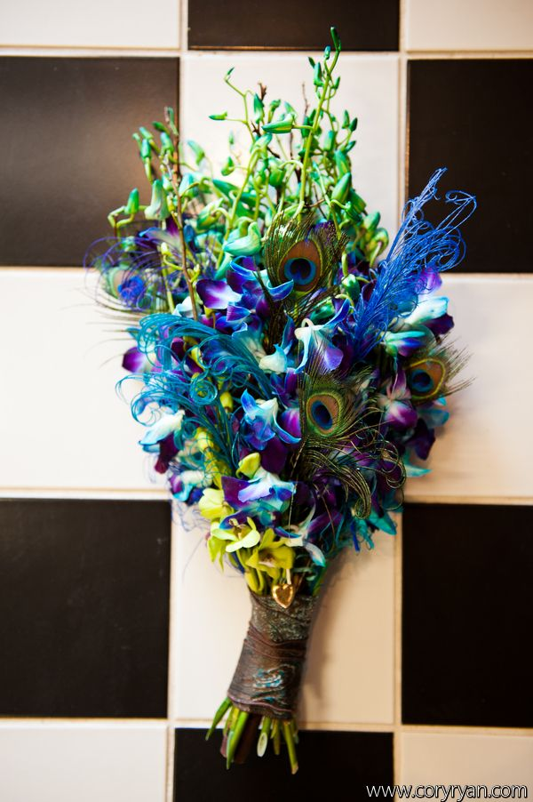 Blue And Purple Wedding Bouquet With Peacock Feathers Purple