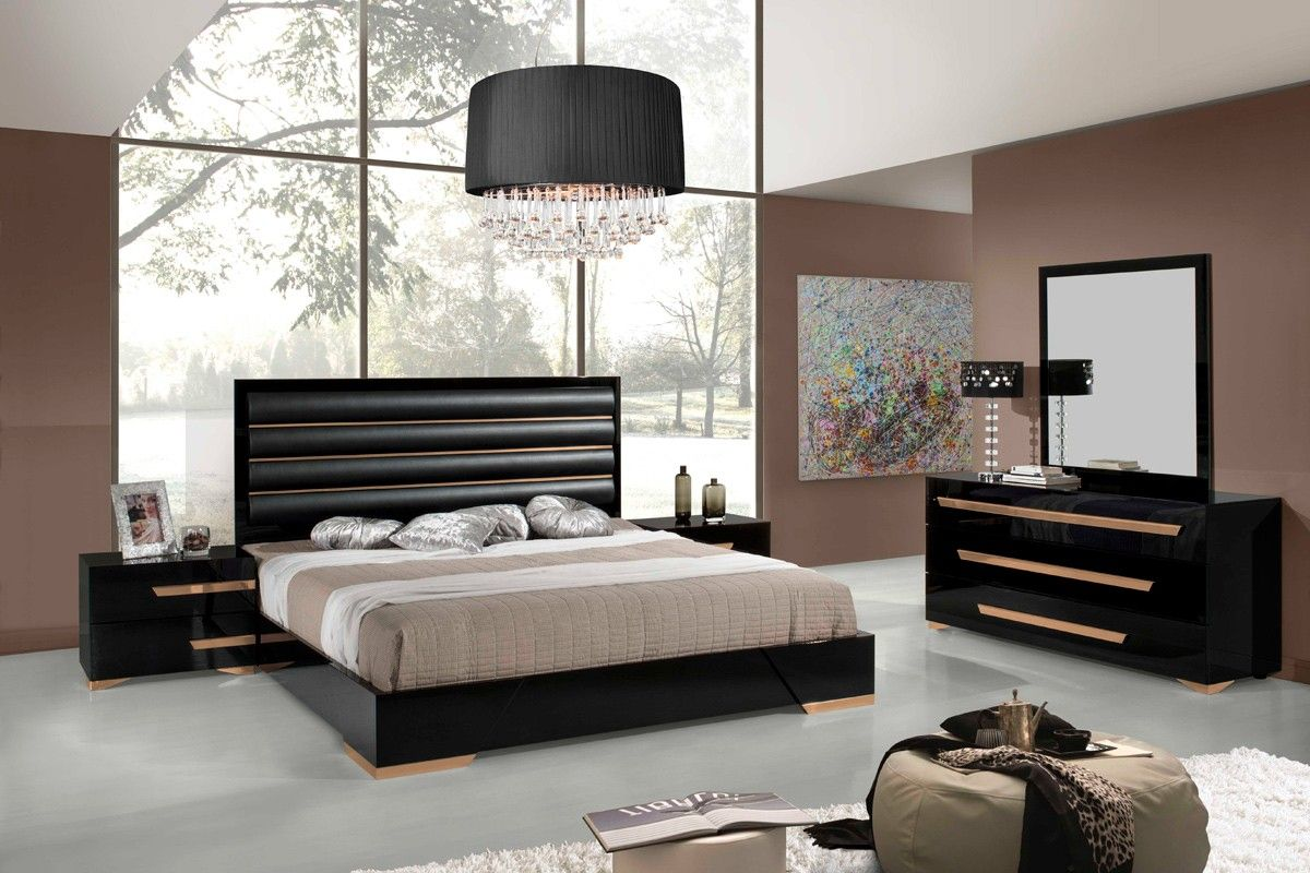 Nova Domus Romeo Italian Modern Black Rosegold Bedroom Set Bedroom Headboard Master Bed