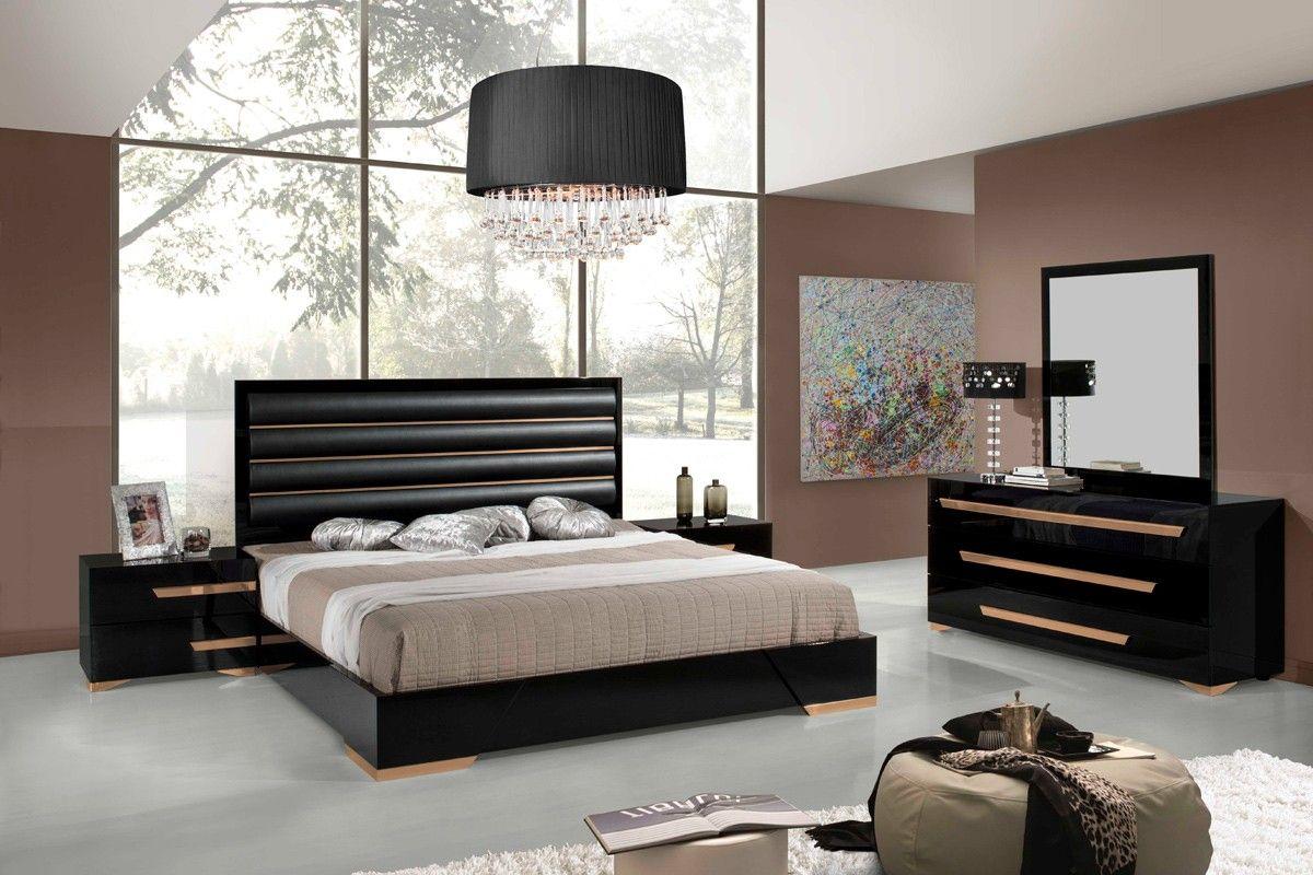 Nova Domus Romeo Italian Modern Black Rosegold Bedroom Set Contemporary Bedroom Modern Bedroom Furniture Contemporary Bedroom Design