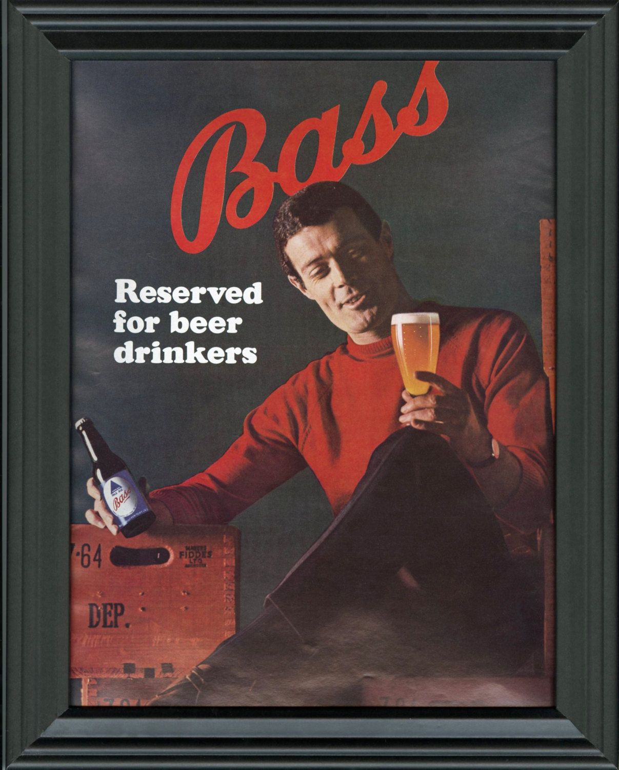 Bass Beer Original Print Ad 1965 Framed Beer Advertisement Bass Reserved For Beer Drinkers Ad Man Cave Decor Bar Beer Advertisement Beer Ad Beer Prints