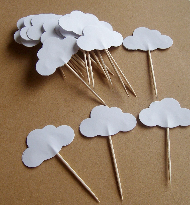 20 pics parti nuage blanc nuage cupcake pics toppers d corations pour f tes anniversaire - Deco pour cupcake ...