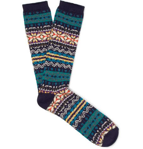 big sale 9d15f 3b4d2 Anonymous Ism - Fair Isle Cotton-Blend Jacquard Socks