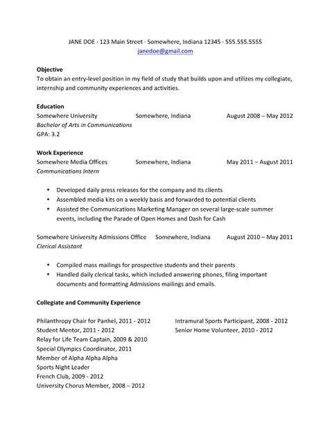 College Student Resume For Internship Resume For Internship