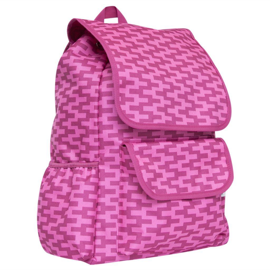 Drawstring Backpack - Pink Zig Zag