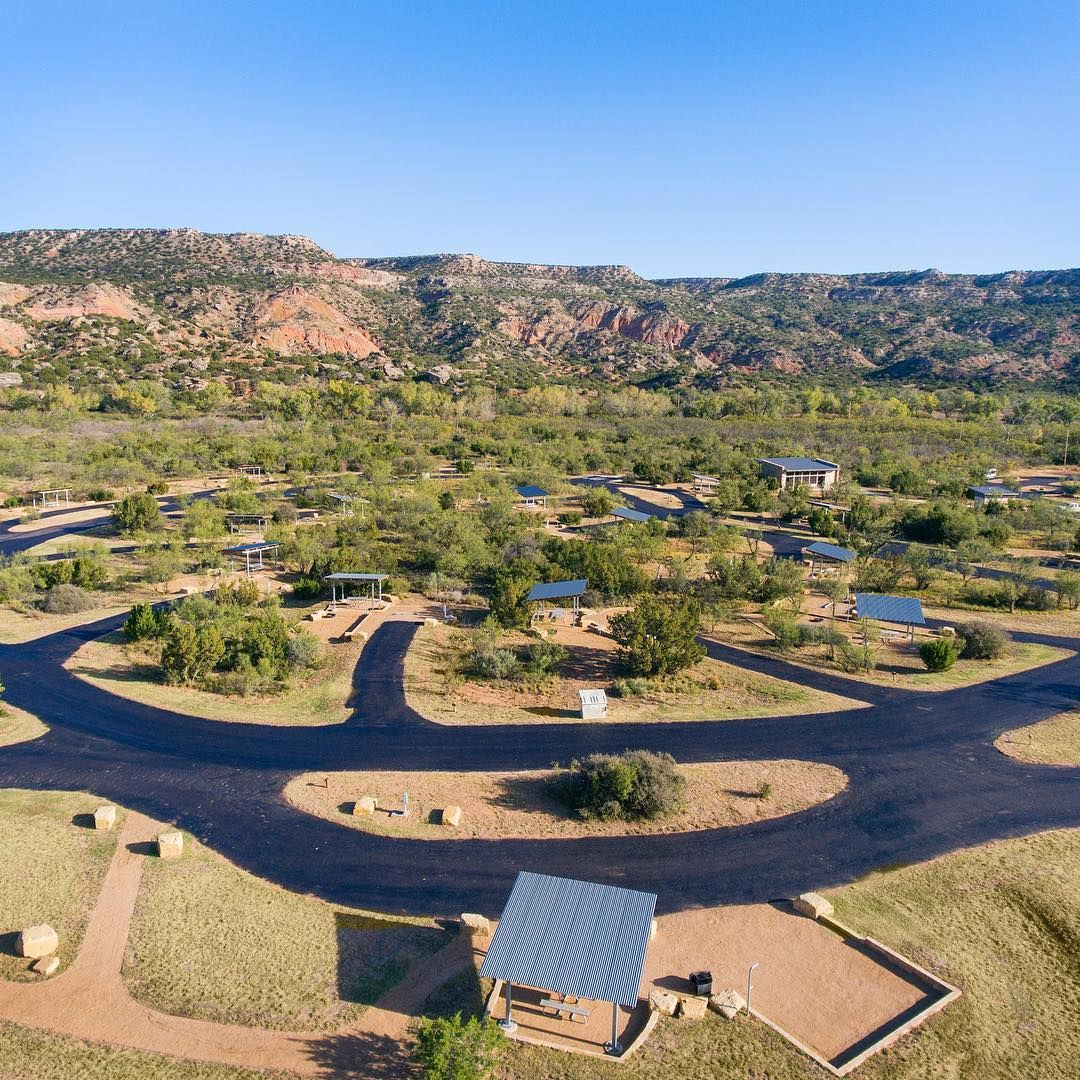 Aerial View Of The New Juniper Camping Loop At Palo Duro Canyon State Park Built By Tpwbuildingbetteroutside In Additi Palo Duro Palo Duro Canyon State Parks
