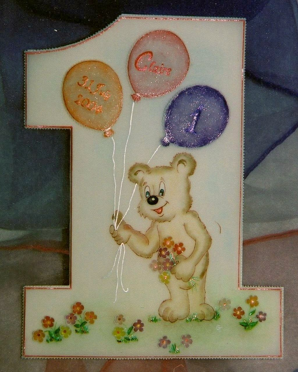 Teddy With Bright Balloons On A Birthday Card For A 1 Year -9559